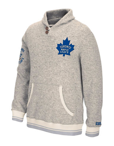 Reebok Toronto Maple Leafs CCM Popover Sweater-LIGHT GREY-Large