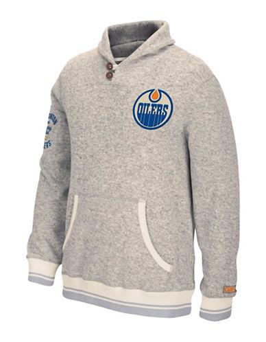 Reebok Edmonton Oilers CCM Popover Sweater-LIGHT GREY-Medium