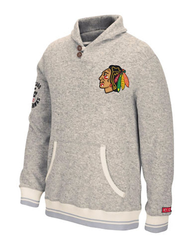 Reebok Chicago Blackhawks CCM Popover Sweater-LIGHT GREY-Medium