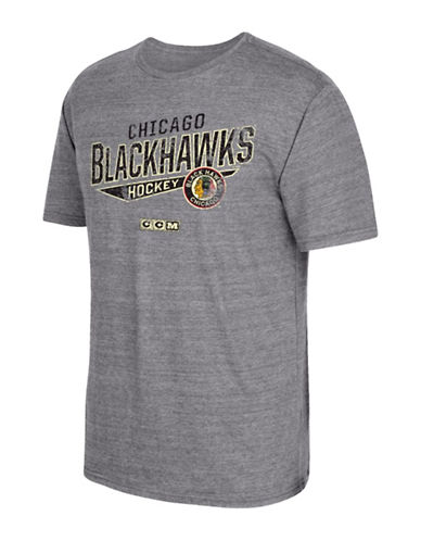 Reebok Chicago Blackhawks CCM No Mercy T-Shirt-GREY-Medium