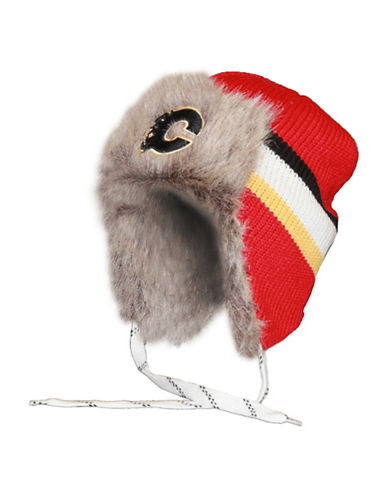 Reebok Calgary Flames Faux Fur Trooper Toque-RED-One Size