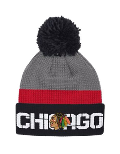 Reebok Chicago Blackhawks Cuffed Pom-Pom Knit Tuque-GREY-One Size