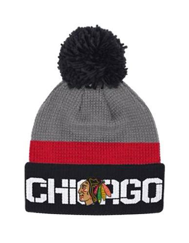 Reebok Chicago Blackhawks Cuffed Pom-Pom Knit Tuque-GREY-One Size
