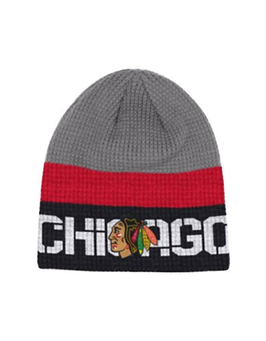 Reebok Chicago Blackhawks Knit Beanie-GREY-One Size