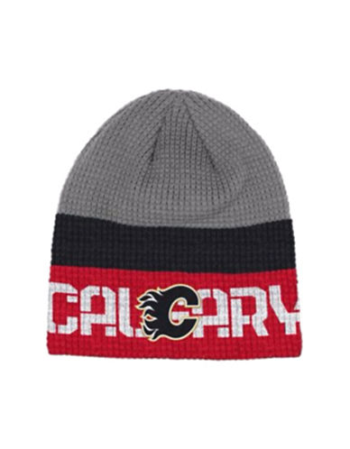 Reebok Calgary Flames Knit Beanie-GREY-One Size