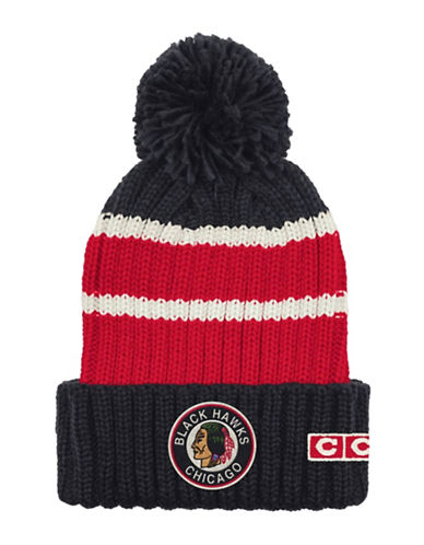Reebok CCM Vintage Chicago Blackhawks Stripe Cuffed Pom-Pom Tuque-RED/BLACK-One Size