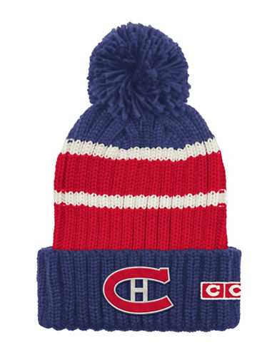 Reebok CCM Vintage Montreal Canadiens Stripe Cuffed Pom-Pom Tuque-RED/BLUE-One Size