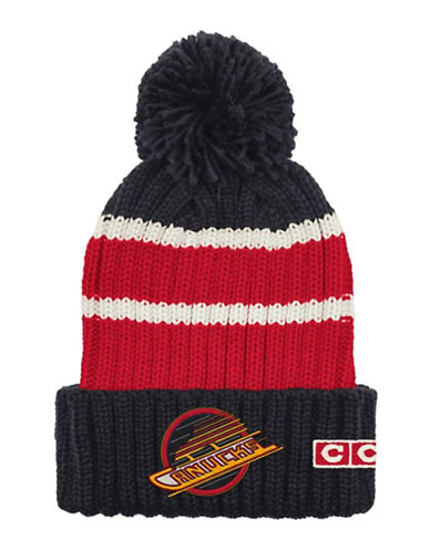 Reebok CCM Vintage Vancouver Canucks Stripe Cuffed Pom-Pom Tuque-BLUE/RED-One Size