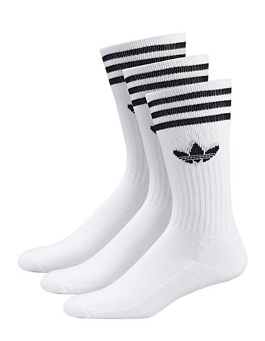 Adidas Three-Pack Originals Solid Crew Socks-WHITE-One Size
