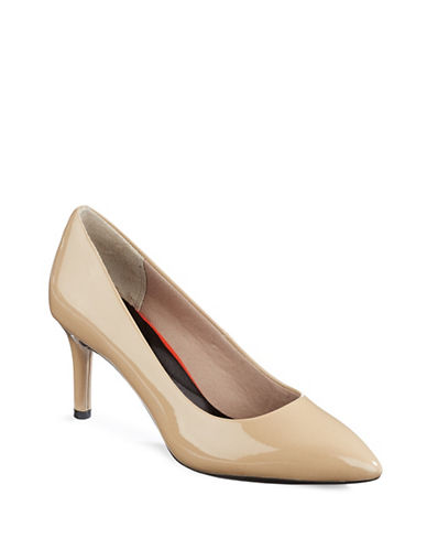 Rockport Total Motion Patent Leather Pumps-WARM TAUPE-8.5