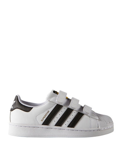 Adidas Kids Superstar Foundation Leather Sneakers-BLACK-12