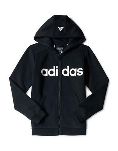 Adidas Essentials Linear Brushed Hoodie-BLACK-Small 88167119_BLACK_Small