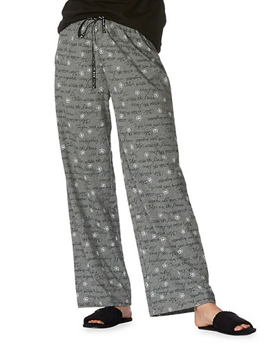 Hue Floral Script Sleep Pants-GREY-Small