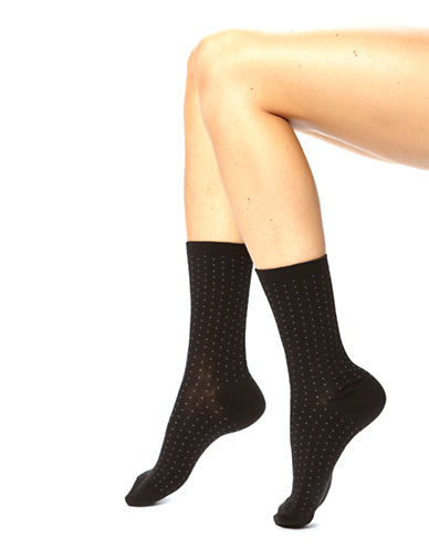 Hue Pindot and Floral Socks-BLACK-One Size