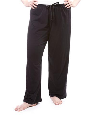Hue Solid Pyjama Pant-BLACK-3X