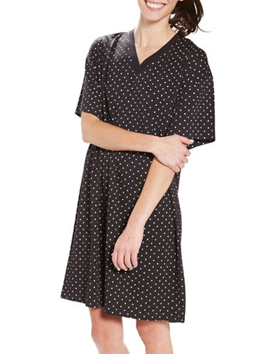 Hue Plus Rio Dots Sleep Shirt-BLACK-2X