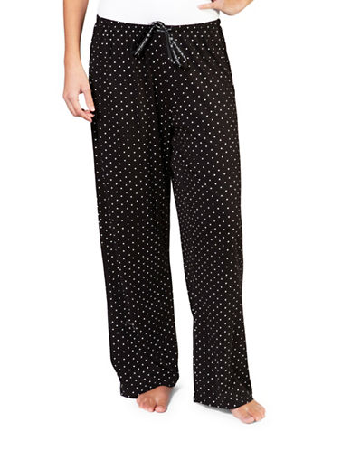 Hue Plus Rio Dot Long Pyjama Pants-BLACK-3X