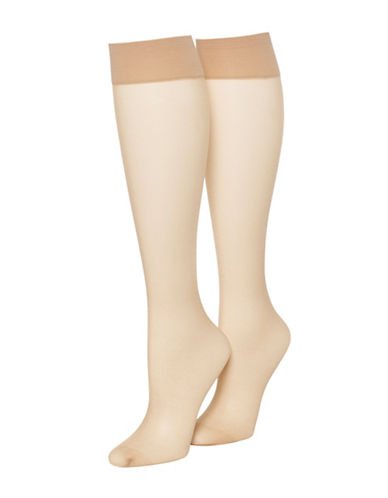 Hue Sheer Knee Hi Two Pair Pack-NUDE BLUSH-One Size