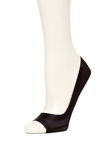 Hue Peep-Toe Liner Socks-BLACK-One Size