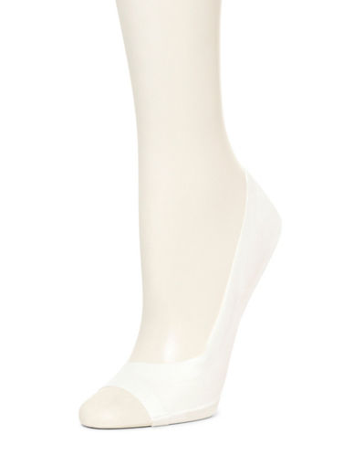 Hue Peep-Toe Liner Socks-CREAM-One Size