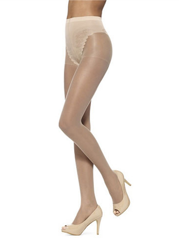Hue Toeless Sheers with French Lace Panty-NUDE BLUSH-1