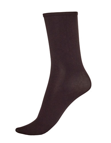 Hue Opaque Anklet Socks-BLACK-One Size