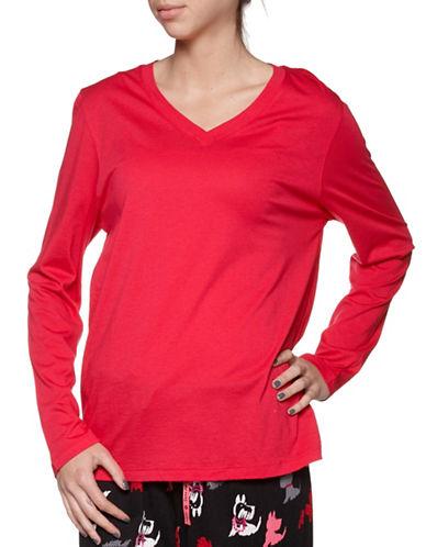 Hue Long Sleeve V-Neck T-Shirt-RED-Medium 88050288_RED_Medium