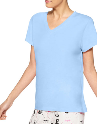 Hue Short Sleeve V-Neck Tee-BLUE-Medium