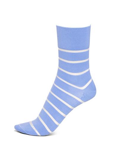 Hue Sheer Stripe Pixie Socks-BLUE-One Size