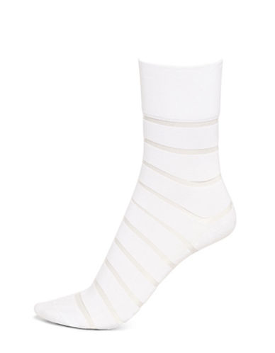Hue Sheer Stripe Pixie Socks-NATURAL-One Size 88224569_NATURAL_One Size