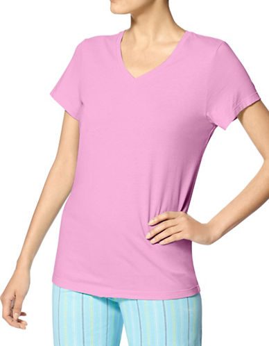 Hue Short Sleeve V-Neck T-Shirt-PINK-Small 88510878_PINK_Small