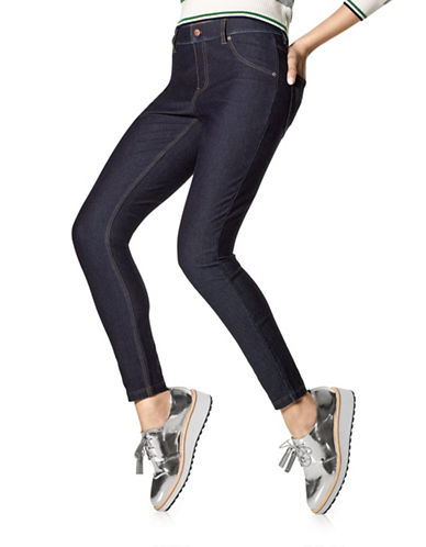Hue Essential Denim Leggings-DARK INDIGO-Large