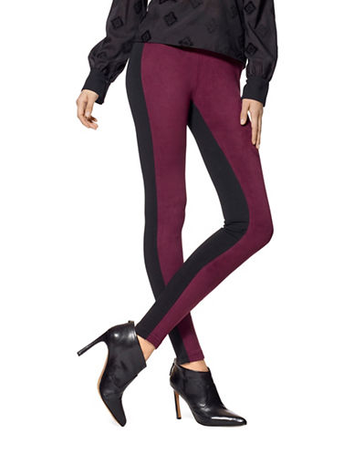 Hue Blocked Microsuede Leggings-RED-Small 88623042_RED_Small
