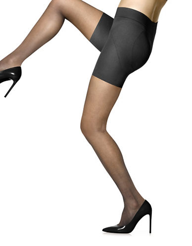 Hue Made to Move Shapewear Sheer Tights-BLACK-2