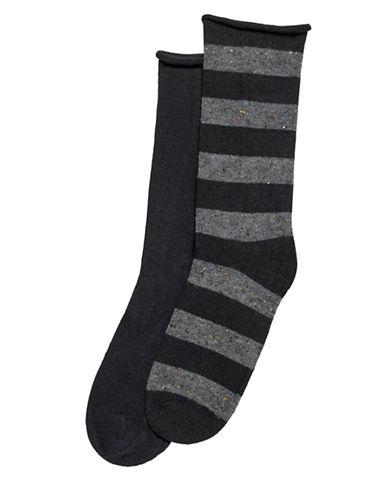 Hue Two-Pack Tweed Stripe Boot Socks-BLACK-One Size