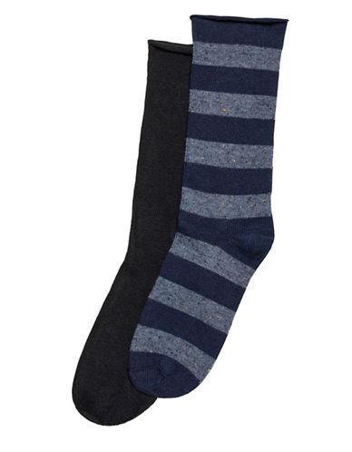 Hue Two-Pack Tweed Stripe Boot Socks-BLUE-One Size