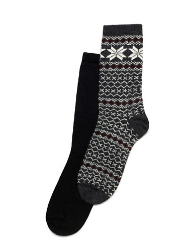Hue Fairlsle Tipped Boot Socks-GREY-One Size