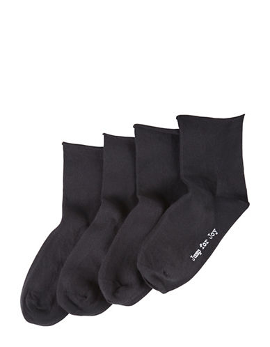 Hue Womens Four-Pack Ankle Socks Set-BLACK-One Size
