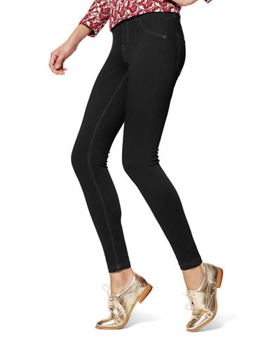 Hue Essential Denim Leggings-BLACK-X-Small