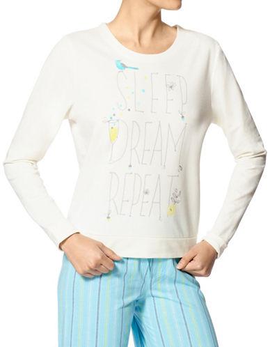 Hue Sleep Dream Repeat Fleece Tee-WHITE-Medium