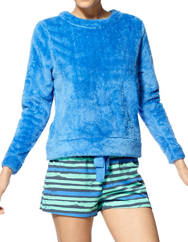 Hue Stripe Strikes Fleece Shirt and Boxer Set-BLUE-Large