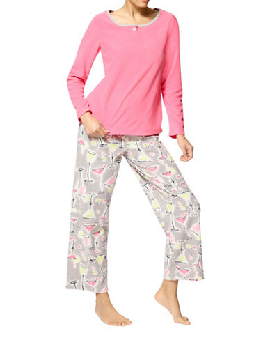 Hue Party Starter Microfleece Pyjama Set-PINK MULTI-Large