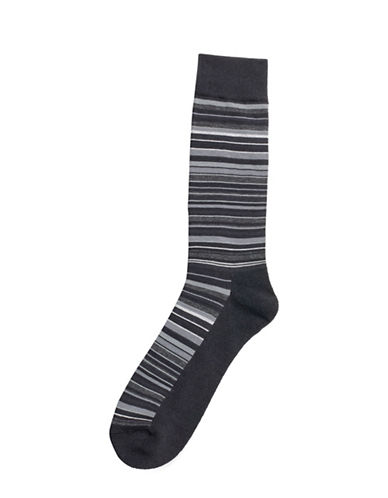 Hue Multistripe Cushion Socks-BLACK/GREY-One Size