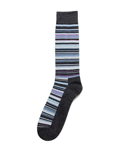 Hue Multistripe Cushion Socks-GRAPHITE HEATHER-One Size