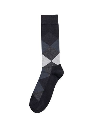 Hue Blocked Cushion Socks-BLACK-One Size