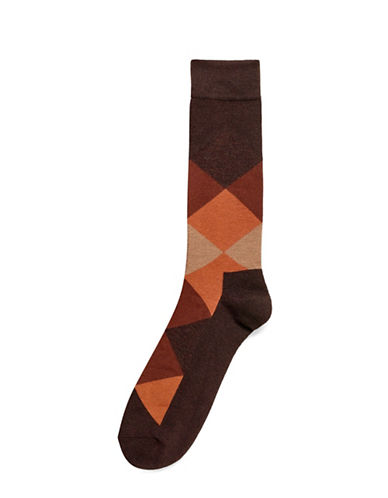 Hue Blocked Cushion Socks-BROWN-One Size