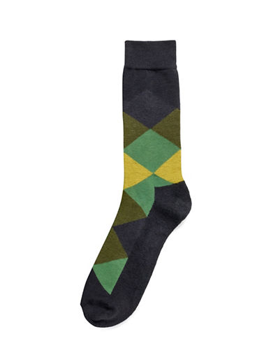 Hue Blocked Cushion Socks-BLACK/ARMY-One Size