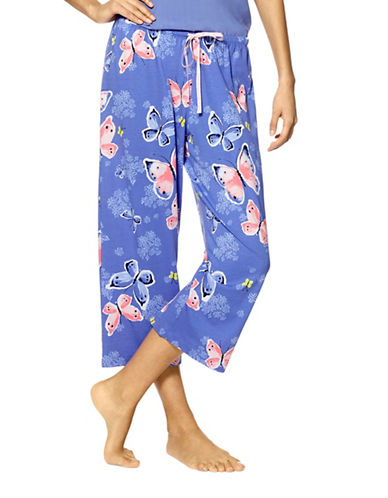 Hue Butterfly Waltz Capri Sleep Pants-BLUE-X-Large 88918729_BLUE_X-Large