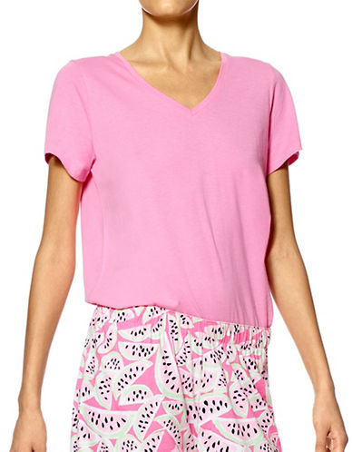 Hue Solid V-Neck Cotton Tee-PINK-Large 88922576_PINK_Large