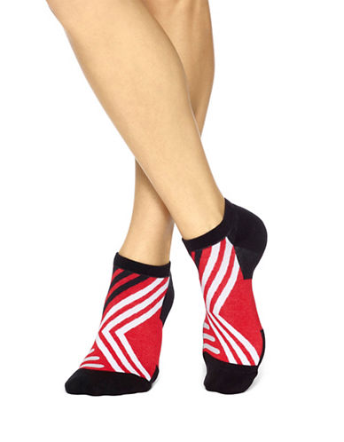 Hue Two-Pack Geo Striped No-Show with Cushion Socks-BLACK-One Size